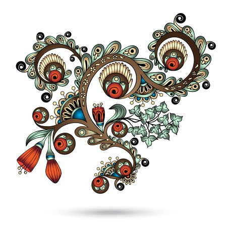 Henna Paisley Mehndi Abstract Floral Vector Illustration Element. Colored version. Series of Doodle Design Element #10.