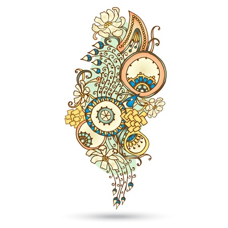 Henna Paisley Mehndi Abstract Floral Vector Illustration Element. Colored Version. Series of Doodle Design Element #11. Vector