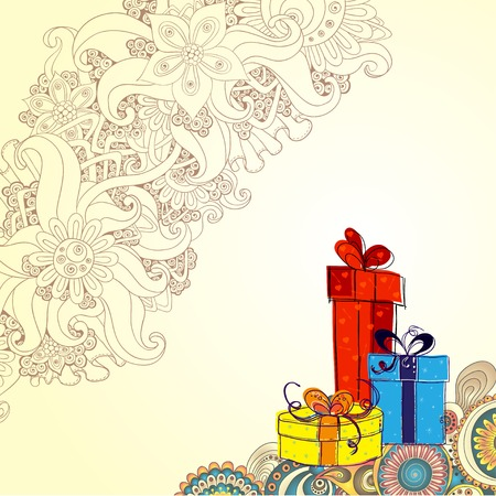 three gift boxes: Holiday card with three gift boxes with bows on the doodle floral background. Sketch style. Illustration