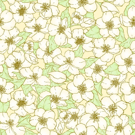 Seamless pattern with hand drawn cherry blossom flowers. Vector