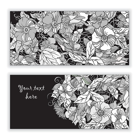 flower power: Original abstract  hand drawn pattern cards