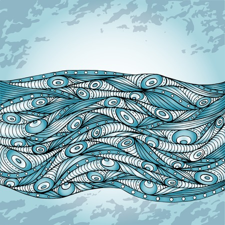 Abstract doodle decorative waves background  Vector