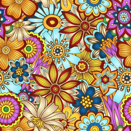 texture fantasy: Abstract vector floral seamless background  Illustration
