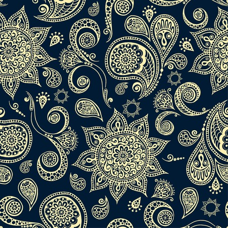 Ethnic seamless pattern with mandala, cucumbers and paisley. Round Ornament Pattern. Ornamental Flowers. Vector