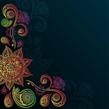Uitstekende achtergrond met Mandala Indische Ornament Stock Illustratie