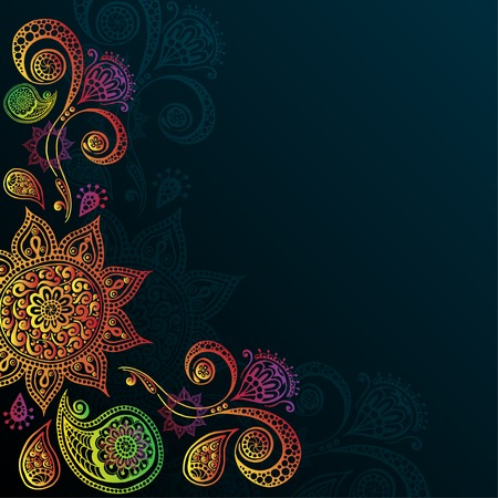 Vintage background with Mandala Indian Ornament  Vector