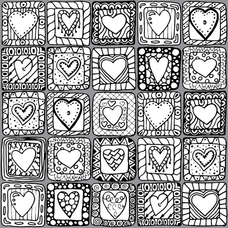 hand drawn frame: Seamless pattern of original doodle hearts  Illustration