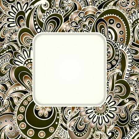 白い背景上に分離。花の装飾的な背景を落書き。あなたのテキストのための場所のカードのテンプレート フレームのデザイン。  イラスト・ベクター素材