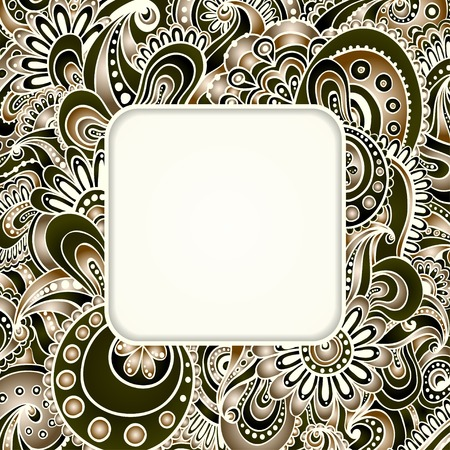 Isolated on the white background. Doodle floral decorative background. Template frame design for card with place for your text. Illustration