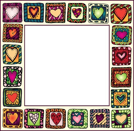 baby picture: Picture Frame with original hand-drawn hearts in doodle frames, patchwork style, copy space for baby books, albums, scrapbooks.  organized in groups for easy editing.
