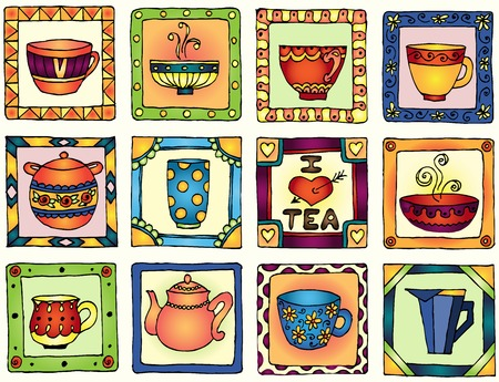 english tea: Tea cups and pots frame funny banner hand drawn design