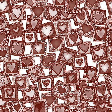 sampler: Collection of original drawing doodle hearts. Template frame design for love card with set of doodle hearts.