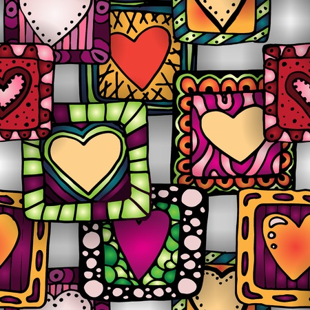 sampler: Collection of original drawing doodle hearts. Template frame design for love card with set of doodle hearts.  organized in groups for easy editing.