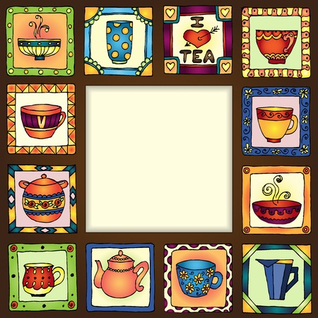 Tea cups and pots frame funny banner hand drawn design. organized in groups for easy editing. Illustration