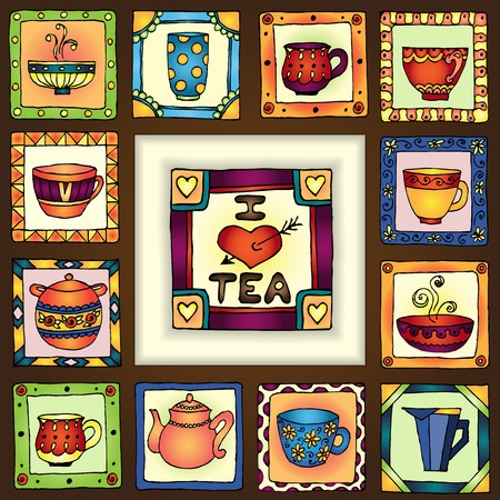 Tea cups and pots frame funny banner hand drawn design. organized in groups for easy editing. Vector