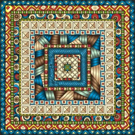 african art: Original drawing tribal doddle rhombus. Seamless pattern with geometric elements.