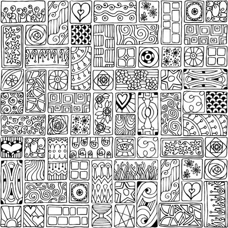sampler: Patr�n sin fisuras. Sampler flores de bosquejo, hojas, corazones. Modelo geom�trico. Dise�o de marco de plantilla de tarjeta con conjunto de rect�ngulos del doodle.