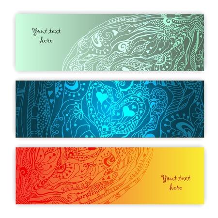 落書き、アート花きゅうりとユニークな抽象的な手の描かれたエスニック パターン カードセット 簡単に編集できるグループに分類。