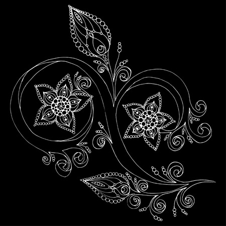 henna background: Decorative floral background with flowers. Retro flowers vector illustration.