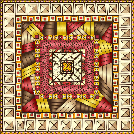 african fabric: Original drawing tribal doddle rhombus. Seamless pattern with geometric elements.