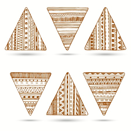 no 1: Vector set of hand drawn ethnic triangle. Set No 1 for your web design