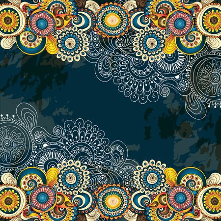 indianische muster: Vector abstract floral dekorativen Hintergrund. Rahmen-Design f�r Karte mit Platz f�r Ihren Text.