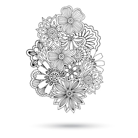 Henna Paisley Mehndi Abstract Floral Vector Illustration Element. Colored Version. Series of Doodle Design Element #11.