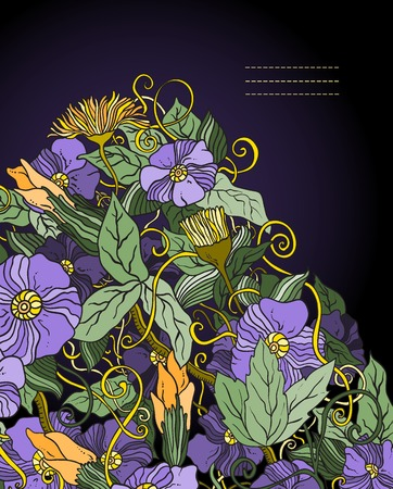 Vector floral background, hand drawn retro flowers and leaves Vector