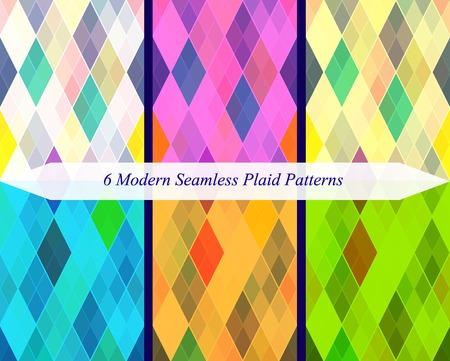 christmas plaid: Set of six seamless modern plaid patterns. Illustration