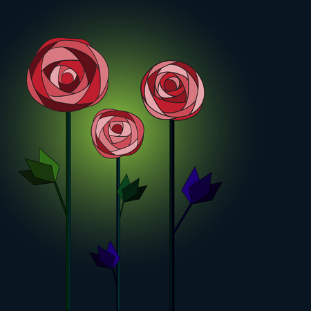 Flower background with roses. Vector