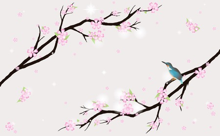 asian trees: This image is a vector illustration and can be scaled to any size without loss of resolution.  Illustration