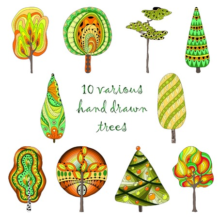 Hand drawn trees isolated, sketch, doodle style trees set Vector
