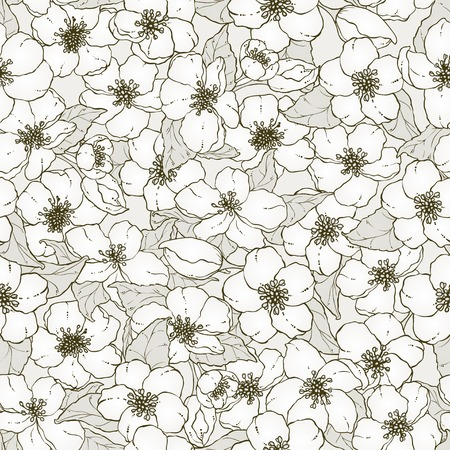 cherry blossom: Seamless pattern with hand drawn cherry blossom flowers. Illustration