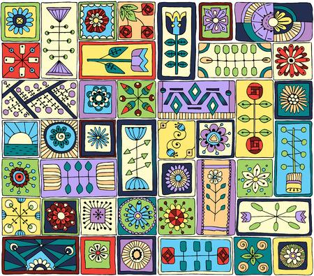 sampler: Seamless pattern. Sampler doodle flowers and hearts.