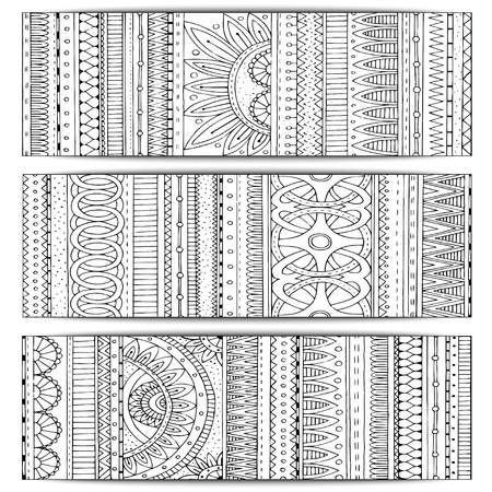 Abstract Ethnic Pattern Cards On Wood Background. Ilustrace