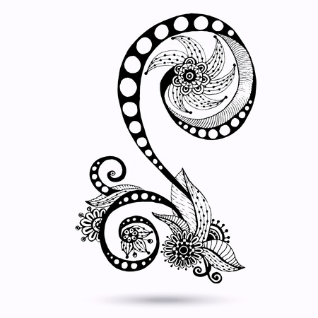 Henna Paisley Mehndi Doodles Design Element. Vector