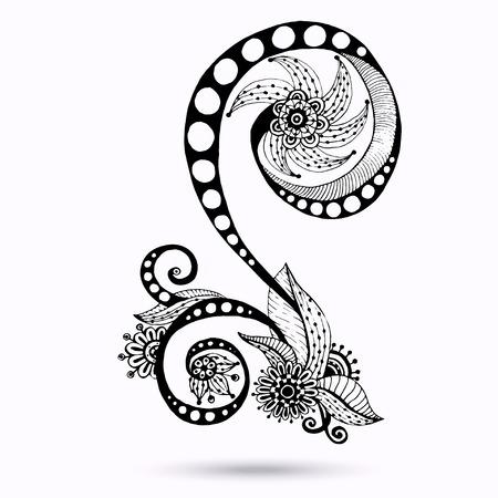 Henna Paisley Mehndi Doodles Design Element. Vector