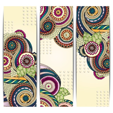 Ethnic Pattern Cards With Paisley, Doodles. Vector
