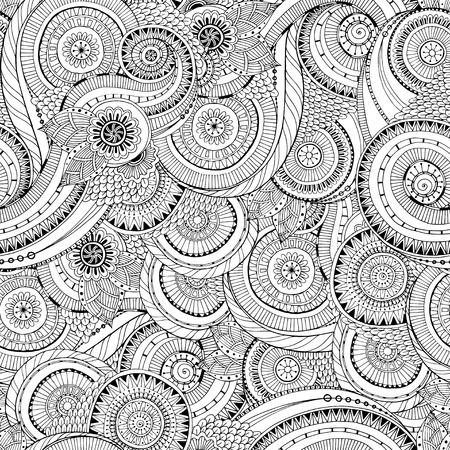Seamless flower retro background in vector. Çizim