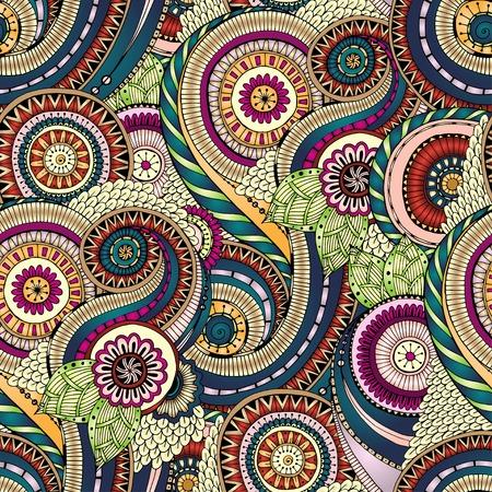 batik: Seamless fleur r�tro fond dans le vecteur. Illustration