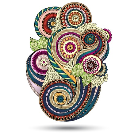 Henna Paisley Mehndi Floral Vector Illustration Design Element. Çizim