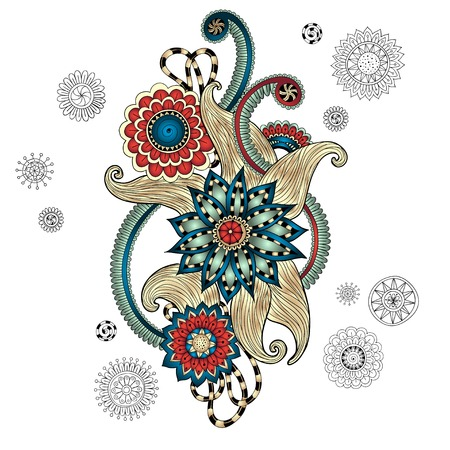 paisley design: Henna Paisley Mehndi Doodles Design Element.