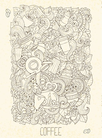 Hand-Drawn Coffee  Doodle Vector Illustration. Design Template. Vector