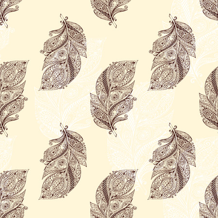 dress sketch: Vintage seamless pattern with original hand drawn feathers on black background. Seamless vector pattern. Illustration