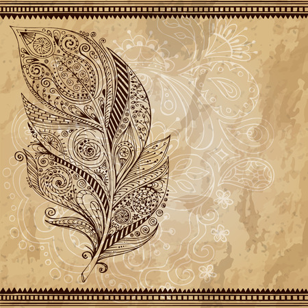 Artistically drawn, stylized, vector tribal graphic feather with hand drawn swirl doodle pattern. Grunge background. Illustration is created from a personal sketch by trace. Series of doodle feather. Vector