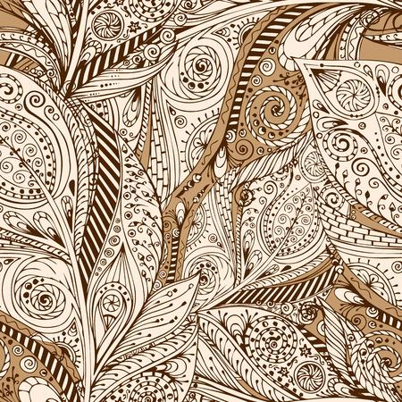 batik: Seamless flower retro background in vector. Illustration