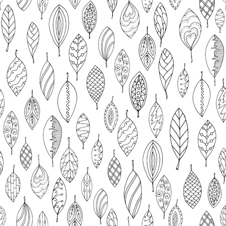 Autumn white and black seamless stylized leaf pattern in doodle style. Seamless decorative template texture with leaves. Used clipping mask for easy editing. Vector