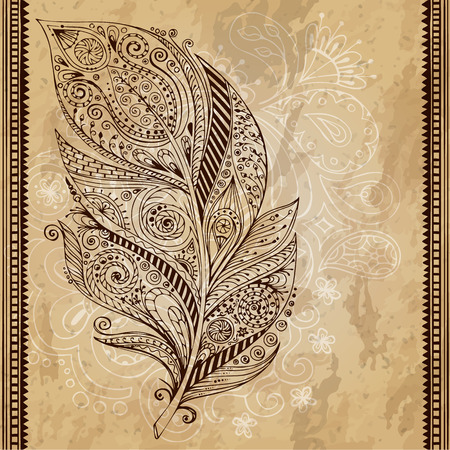 Artistically drawn, stylized, vector tribal graphic feather with hand drawn swirl doodle pattern. Grunge background. Illustration is created from a personal sketch by trace. Series of doodle feather.