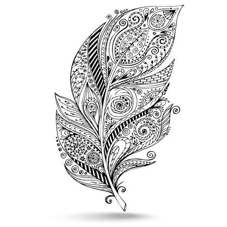 ベクトル部族羽。イラストレーションは、トレースによって個人的なスケッチから作成されます。落書き羽のシリーズ。