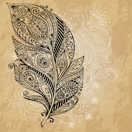 Artistically drawn, stylized vector tribal graphic feathers with hand drawn swirl doodle pattern. Grunge background. Illustration is created from a personal sketch by trace. Series of doodle feather. Vector
